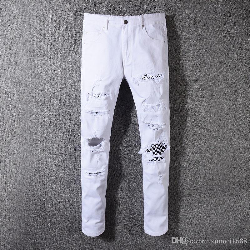 2019 skinny jeans erkekler için delik yırtık kot Motosiklet Biker Denim pantolon Erkekler moda Tasarımcısı Hip Hop Erkek Kot rahat Pantolon