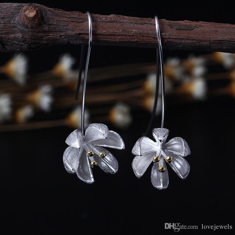 Nouvelle arrivée 925 Sterling Silver Earring mode 14K Or Pomelo fleur boucles d'oreilles goujons fleur charme en gros femme bijoux de Chine
