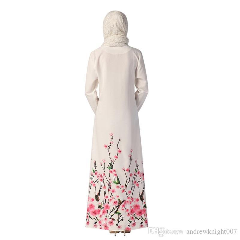 Musulman Femmes Abaya Robe à manches longues à manches longues longueur en fleur lâche imprimé islamique jilbab hijab kaftan femme vêtements ethniques dk729mz