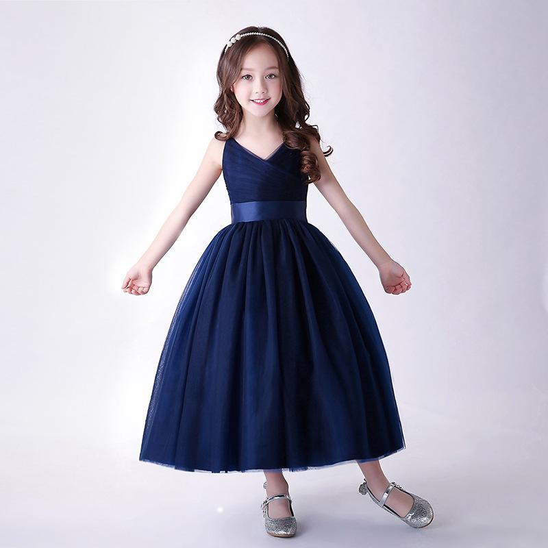 0f184a3387 2019 2018 Elegant Flower Girls Dresses Children Navy Blue Sleeveless Graduation  Dress Kids Wedding Party Ball Gown Vestido From Babykidsboutique