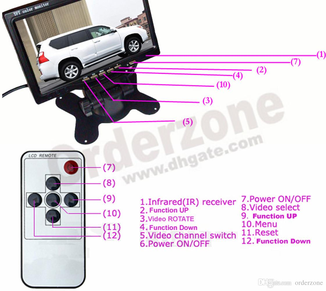 "2x 18 LED IR Reverse Camera 12V/24V+ 7"" LCD Monitor Car Rear View Kit + free 10m cable for Long bus Truck"