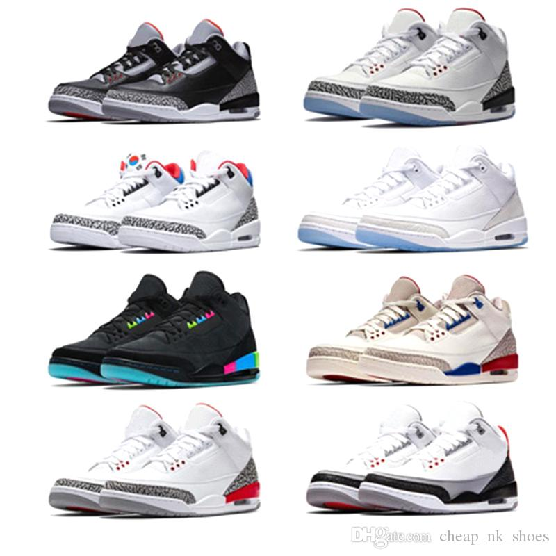 524bfa6dd6067 Compre Nike Air Jordan Retro 3 Nuevos Hombres Zapatos De Baloncesto  International Flight Blanco Puro Negro Cemento Corea Tinker JTH NRG Katrina  Free Throw ...