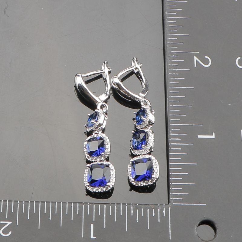 Plaza de Circón Azul 925 Conjuntos de Joyas de Boda de Plata Collar de Collar Pendiente Pulsera Anillos Conjunto Con Piedras Caja de Regalo