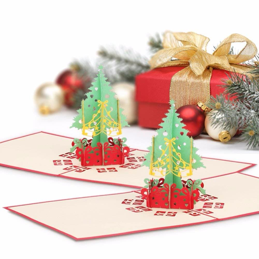 merry christmas gift cards 3d xmas tree laser pop up folding type greeting card for navidad natal new year party favors cards xmas card christmas tree card