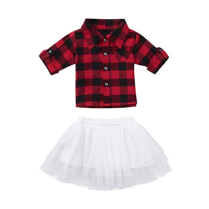 2019 Christmas Baby Girls Outfits Infant Red Black Plaid Top+Tutu Lace  Skirts Fashion Autumn Xmas Kids Lattice Clothing Sets C5377 From Hltrading,  ... - 2019 Christmas Baby Girls Outfits Infant Red Black Plaid Top+Tutu