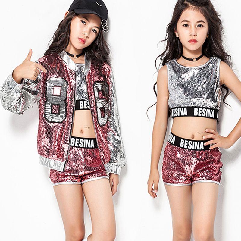 653052de9 2019 Hip Hop Dance Costume Girls Pink Sequin Outfit Vest Shorts Jacket Kids Jazz  Costumes Street Dance Clothing Stage Dress DN1762 From Honhui, ...