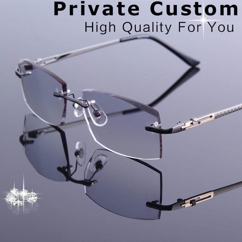 d09f274a1d Metal Frames Rimless Glasses Korean For Men Eyeglasses Luxury Male Myopia Hyperopia  Spectacle Prescription Computer Eye Glasses