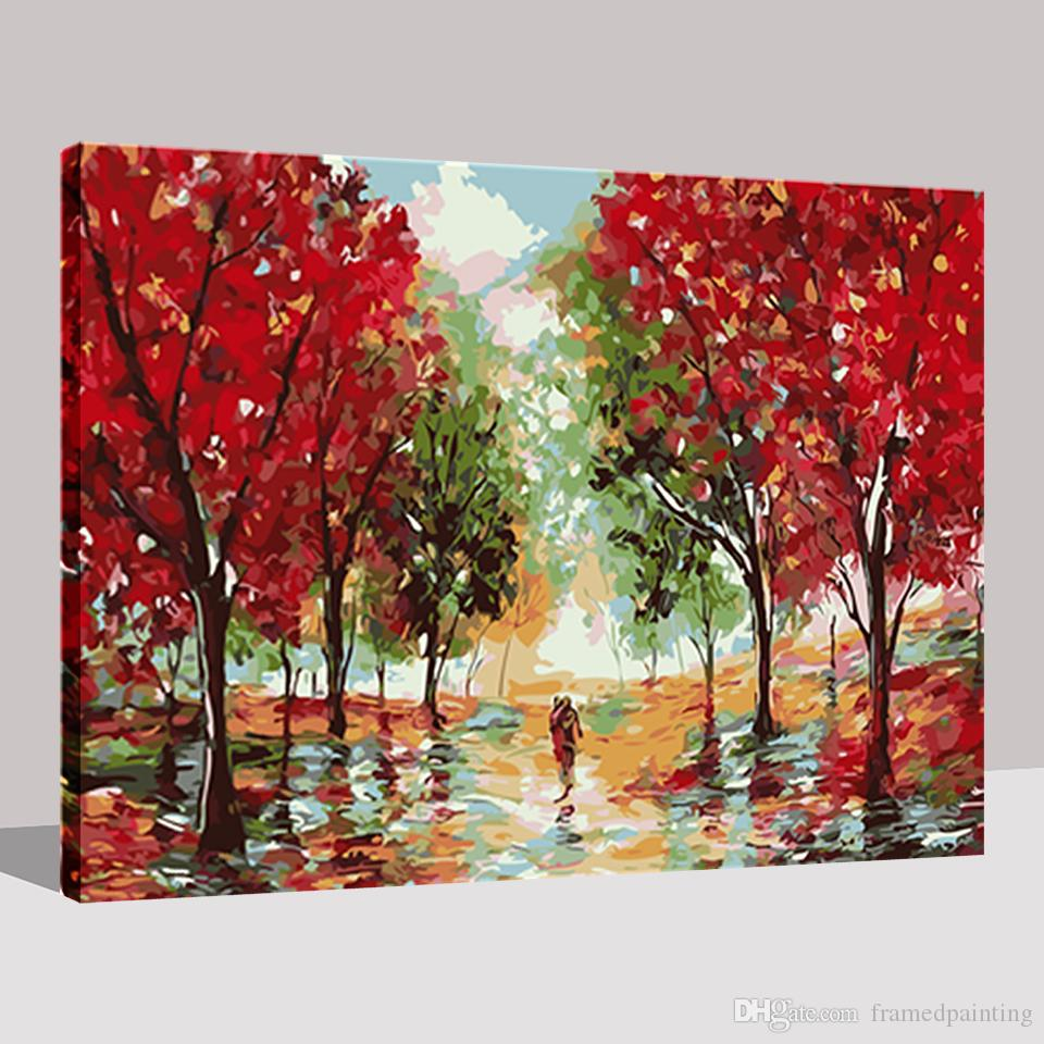 Oil Painting By Numbers DIY HandPainted Red Maple Tree Highway Pictures Canvas Coloring Living Room Decor Wall Abstract Artwork