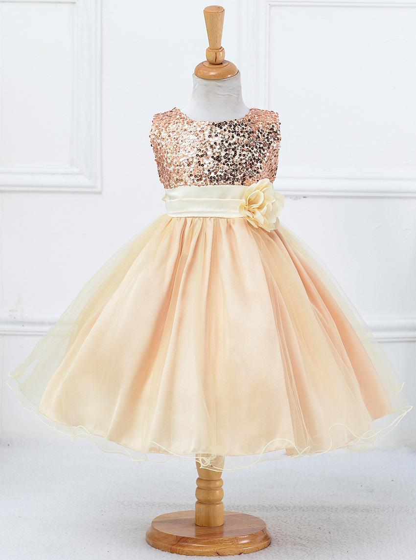 Fashion Bling Sequined Flower Girl Dresses O Neck Princess Ball