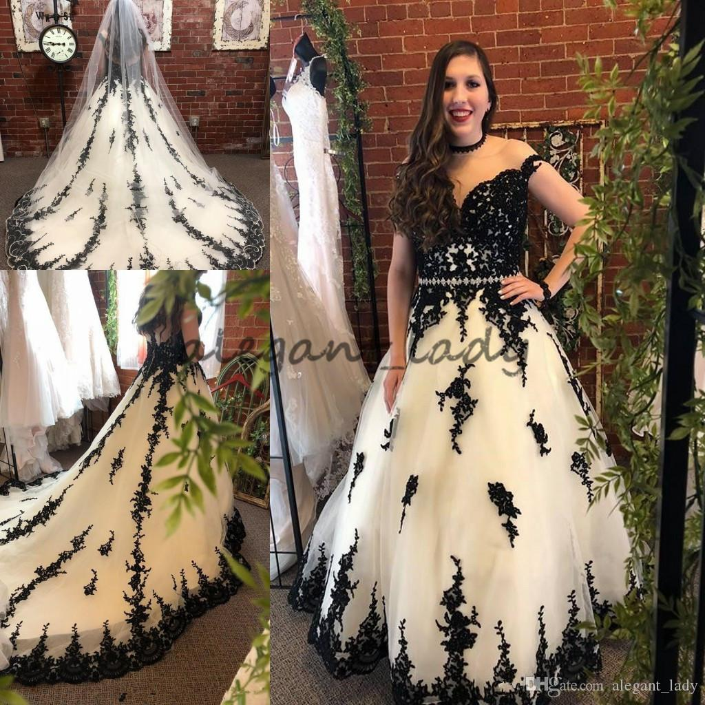 Discount Black/White Gothic Wedding Dresses 2018 Illusion Neck ...