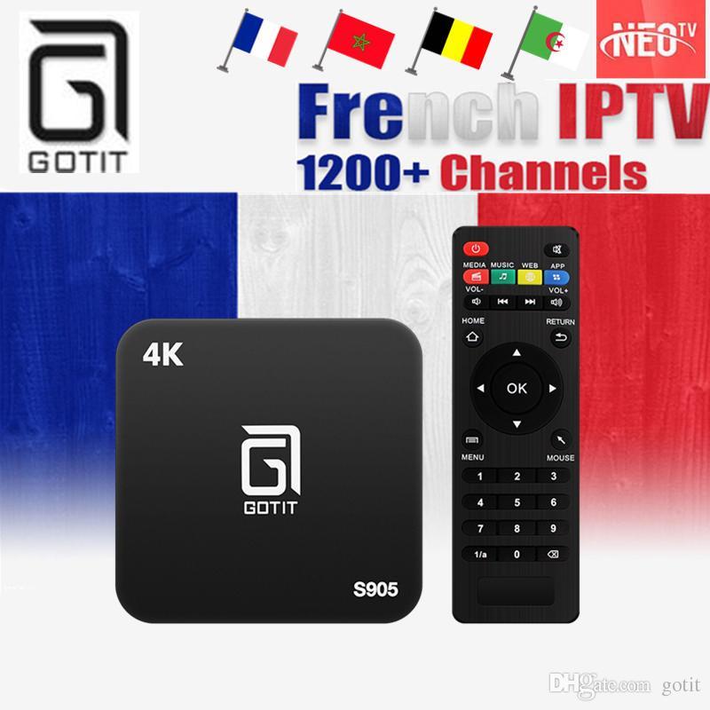 GOTiT S905 4K Smart Android TV Box 1000 NEOTV French Belgium Portugal  Arabic Tunisia Morocco PayTV & VOD