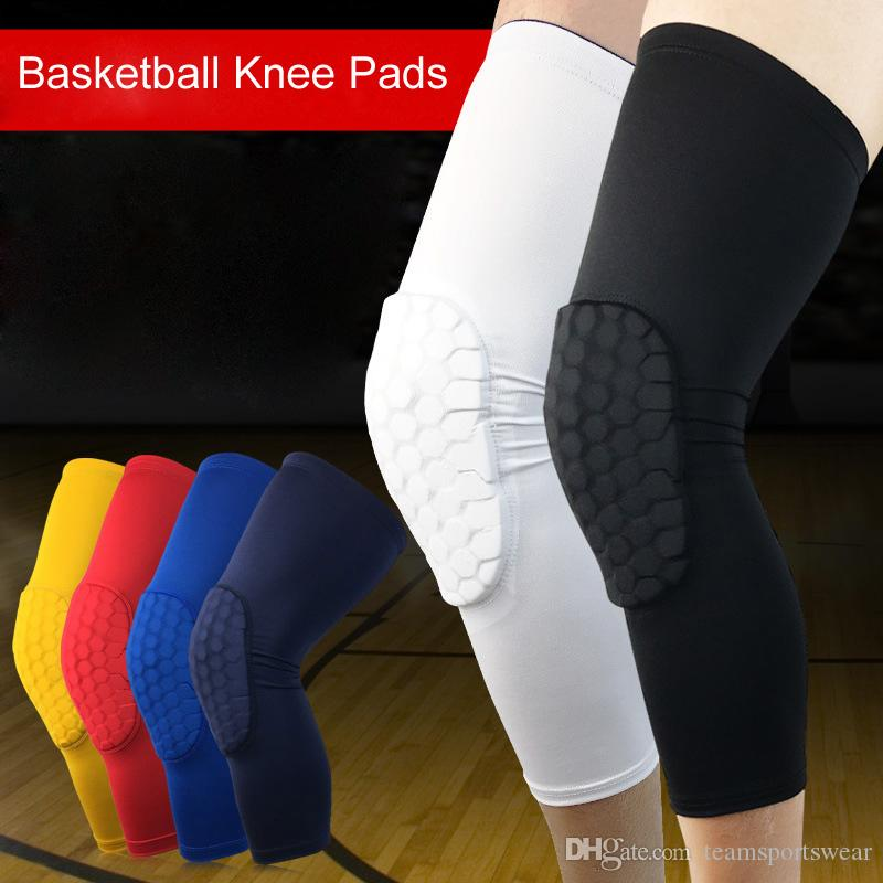 f69ab04da1 2019 Basketball Leg Sleeves Breathable Football Knee Pads Supports Sport  Safety Kneepads Bumper Knee Protector Guard Pads Calf Compression From ...