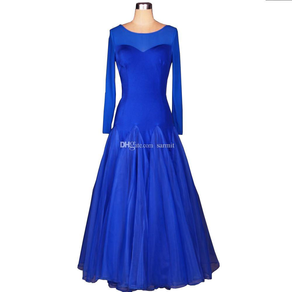 Ballroom Waltz Sukienki Sprzedaż Taniec Strój Ballroom Kurszonek Suknia Tango D0266 3 Kolory Duży Sheer Hem Długi Sleeve