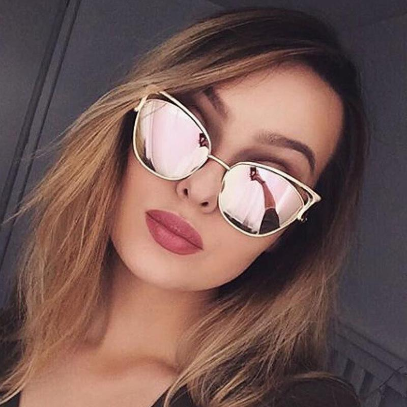 c607b6b514 Ladies Rose Gold Cat Eye Sunglasses Women s Classic Brand Designer ...