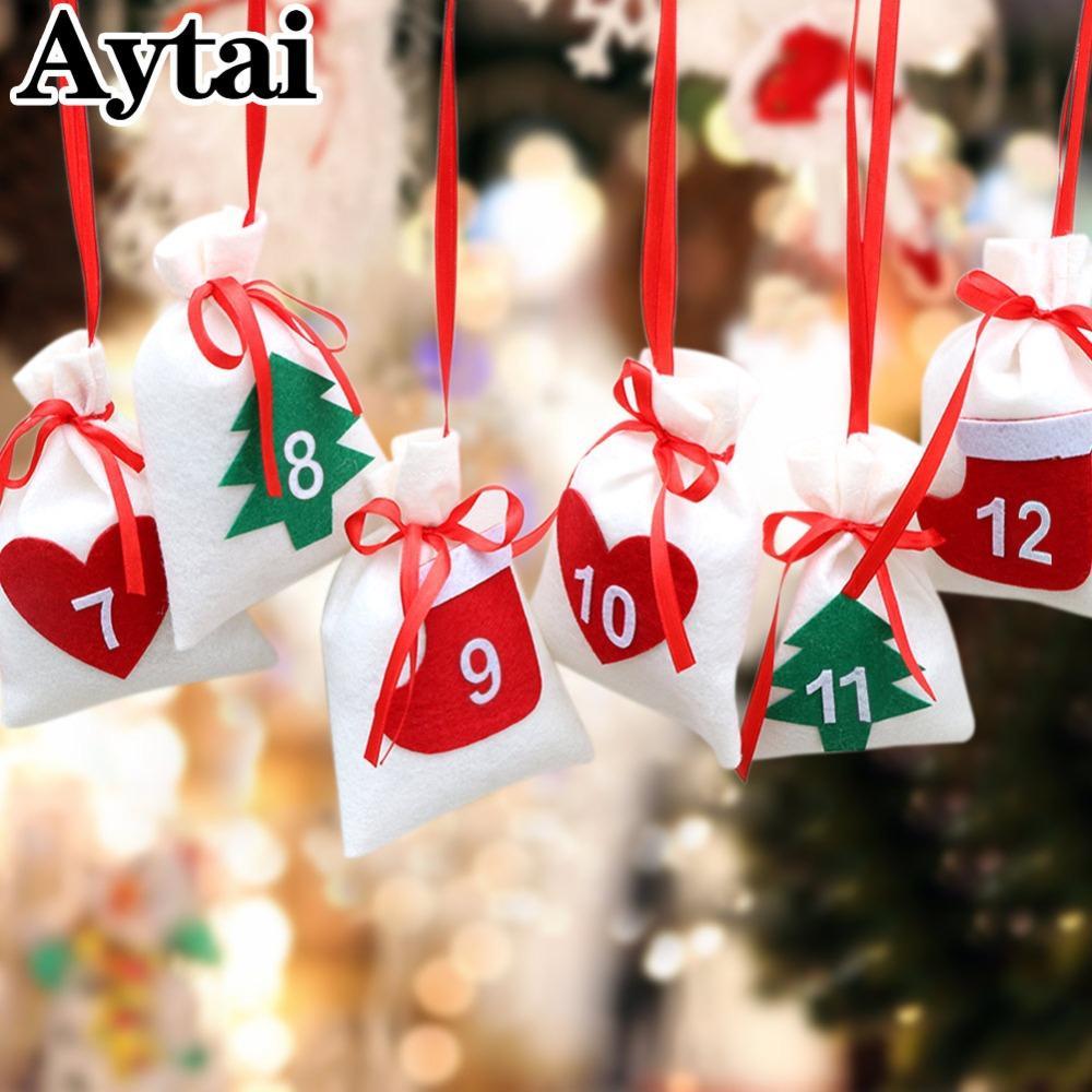 Kalender Weihnachten 2019.Großhandel 2019 Weihnachten Countdown Kalender Tasche Adventskalender Hängende Wand Dekoration Filz Adventskalender Muster