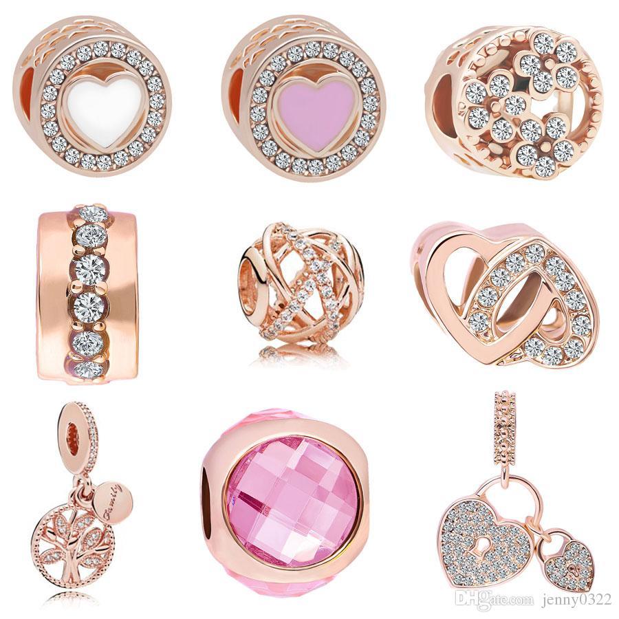 L'or rose de MOQ Livraison gratuite Love Heart verrouillage Hanging Tree Charms Perle Pour Bracelet original Pandora Bijoux DIY J023
