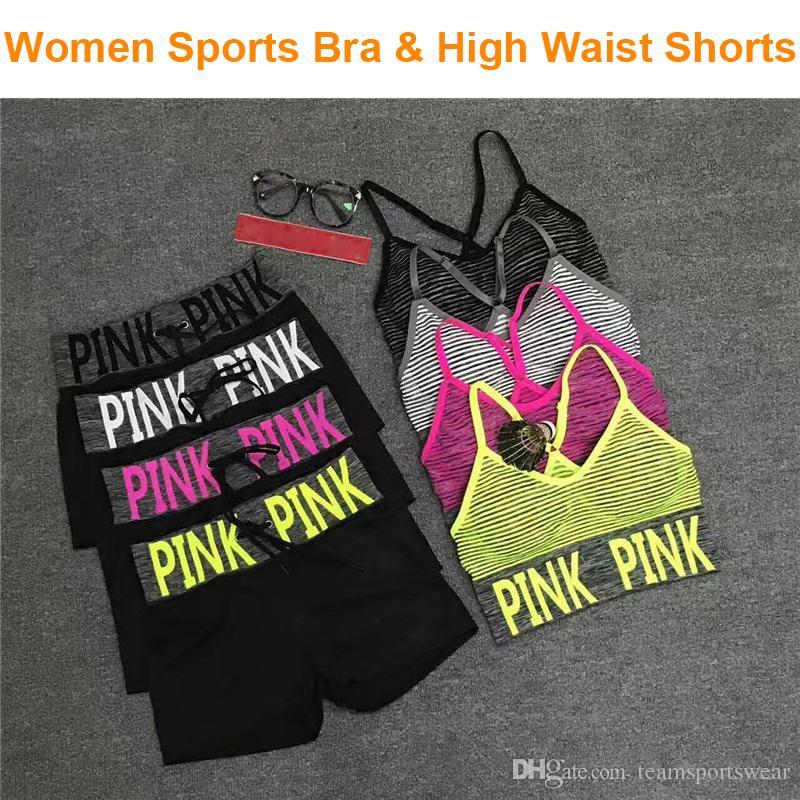 6ea499f510c Women Summer Running Sports Suit Love Pink Bra Shorts Fitness Gym ...