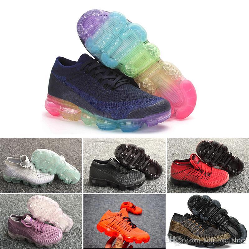new product 2a0ba 657bf Nike air max voparmax 2018 Kids Chaussures de course Triple noir Sneakers  pour bébé Rainbow Chaussures de sport pour enfants filles et garçons ...