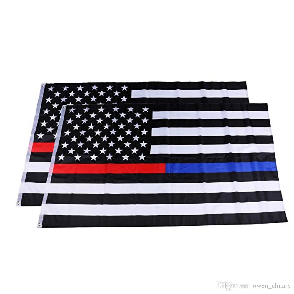 2019 Thin Blue Line And Thin Red Line Flag 3x5ft With Grommets Honoring Law  Enforcement Police Officers And Firefighter Flag From Owen chuary 8b58ad31a55