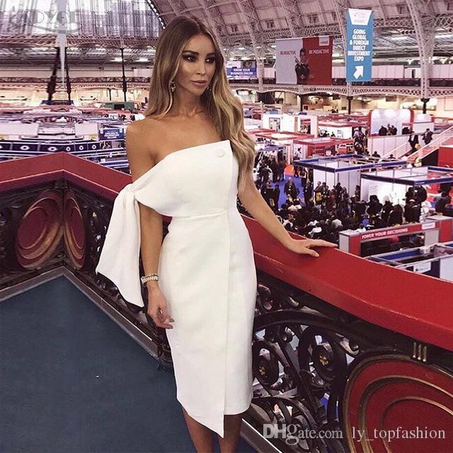 Acquista 2018 Vestiti Da Donna Nuovo Arrivo Abito Da Sera Estivo Casual Una  Spalla Legata Bottone Elegante Nappa Celebrity Runway Vestidos A  35.4 Dal  ... cd24cbd0cd4