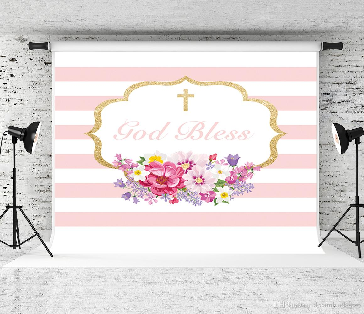 2019 Dream 7x5ft Pink Theme Photography Background First Christening