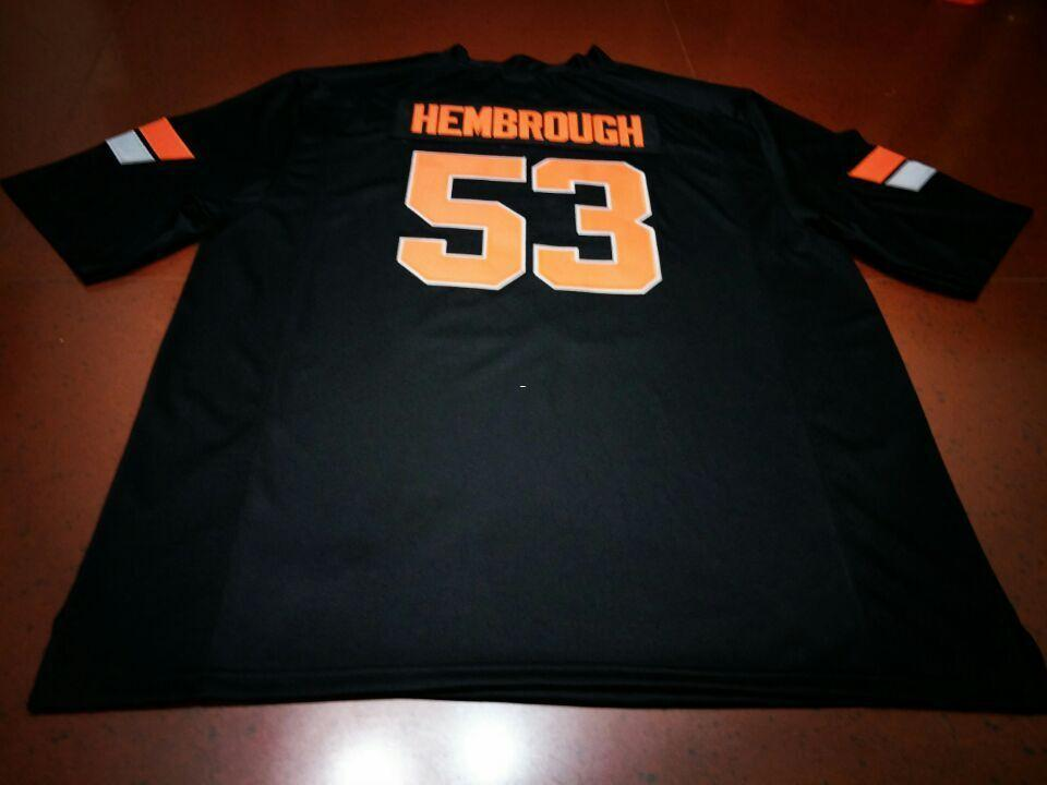 online store 2bf4e 86595 Men #53 HEMBROUGH Black orange Oklahoma State Cowboys Alumni College Jersey  SIZE S-4XL or custom any name or number jersey