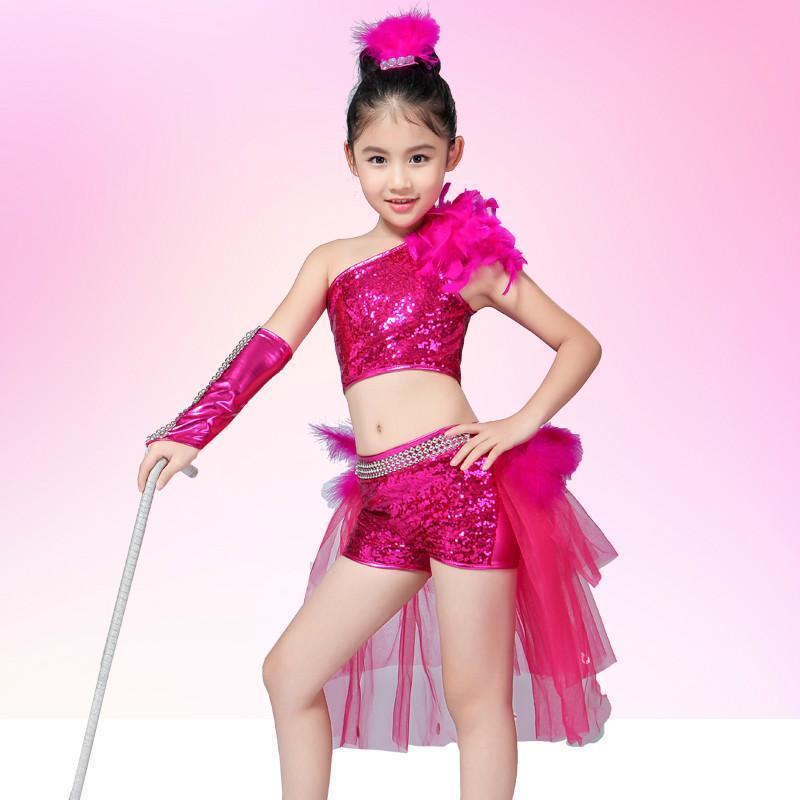 9e7a4fe9c Children's Jazz Dance Dress Latin Dance Modern Stage Walking Shirt Dresser  Girls Performance Costume
