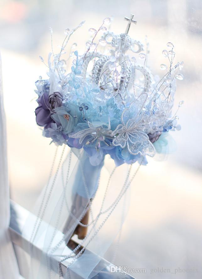High-end custom blue crown snow bride bridal bouquet style crystal bouquet smoke gray cloth