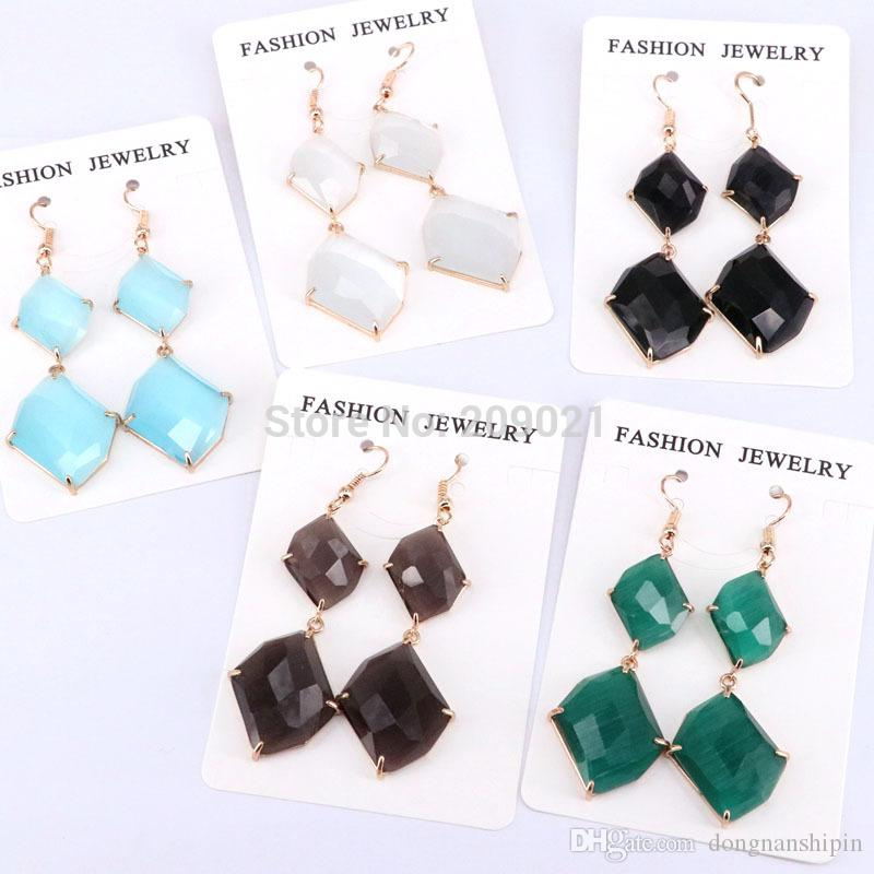 5Pairs Fashion Women Wedding Statement Orecchini pendenti con Cat Eye Stones Orecchini lunghi con montatura dorata