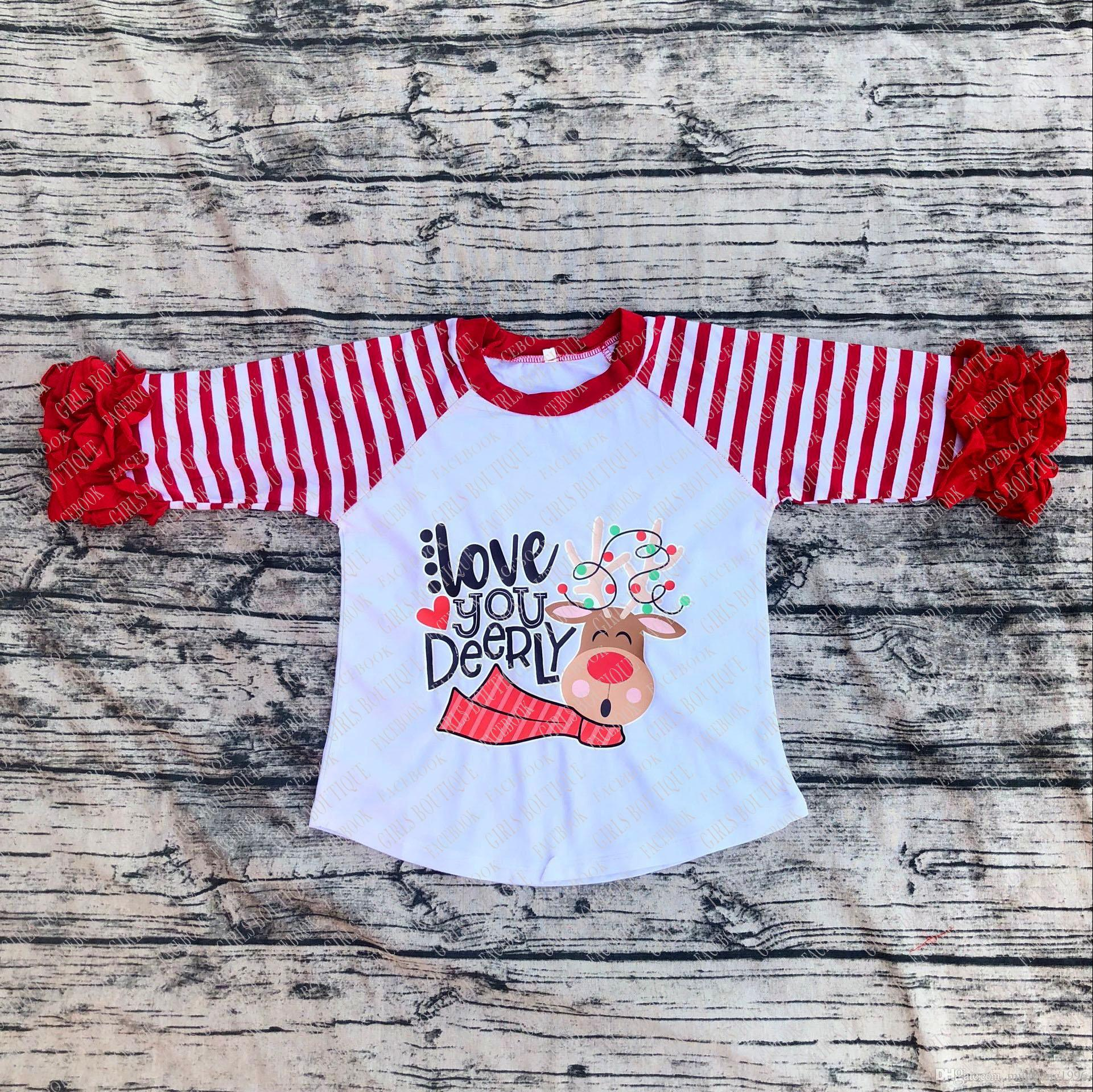 christmas baby girls love you deerly boutique top t shirts children clothes icing sleeve cotton raglans red and white stripes 34sleeve