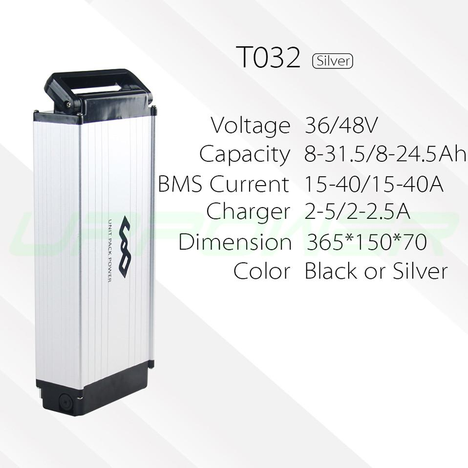 US EU No Taxes Boîtier en alliage d'aluminium Batterie électrique pour rack arrière Batterie 48V 10Ah Batterie au lithium 500W eBike Pack batterie Li-ion + Chargeur