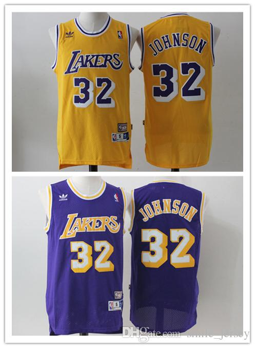 2018 Retro Mens 32 Earvin Johnson Los Angeles Jersey Lakers Basketball  Jerseys Stitched Authentic Classic Magic Earvin Johnson Basketball Jerseys  From ... d68f523a66