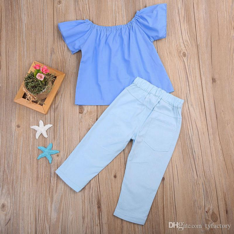 Kids Baby Girls Clothing Flower Clothes Off Shoulder Tops T-Shirt + Pants Outfits Fashion Summer Kids Girls Clothing Boutique Costume