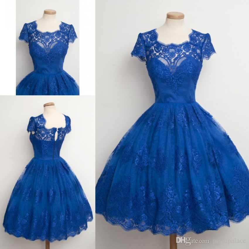 873df97794 Vintage Scalloped Edge Homecoming Dresses Capped Sleeves Lace Appliques  Blue Short Mini Party Gowns Cheap Prom Cocktail Formal Wear Sequin Dress  Short ...