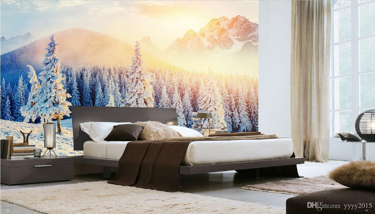 natural 3d wallpapers Nordic snow-capped mountains beautiful scenery TV backdrop decorative painting