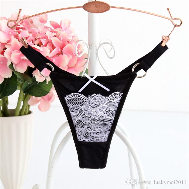M L XL T Back Nylon Women Underwar Sexy Lace Panties Ring G String Briefs