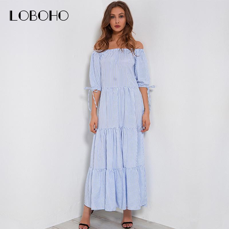 fecd20ebd0c2 Off Shoulder Dress Long Summer 2018 Blue And White Striped Maxi Dress Half  Sleeve Slash Neck Ruffle Casual Dresses For Women Canada 2019 From  Jujubery