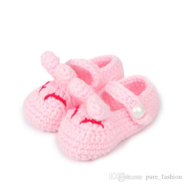 Solid color rabbit ears Baby boy girl crochet knitting line shoes toddler shoes newborn months knitting soft slippers xz105 /