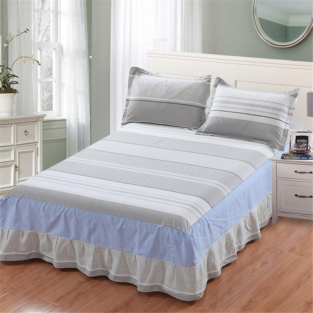 Großhandel Weiß Blau Graue Streifen Bett Rock Geometrische