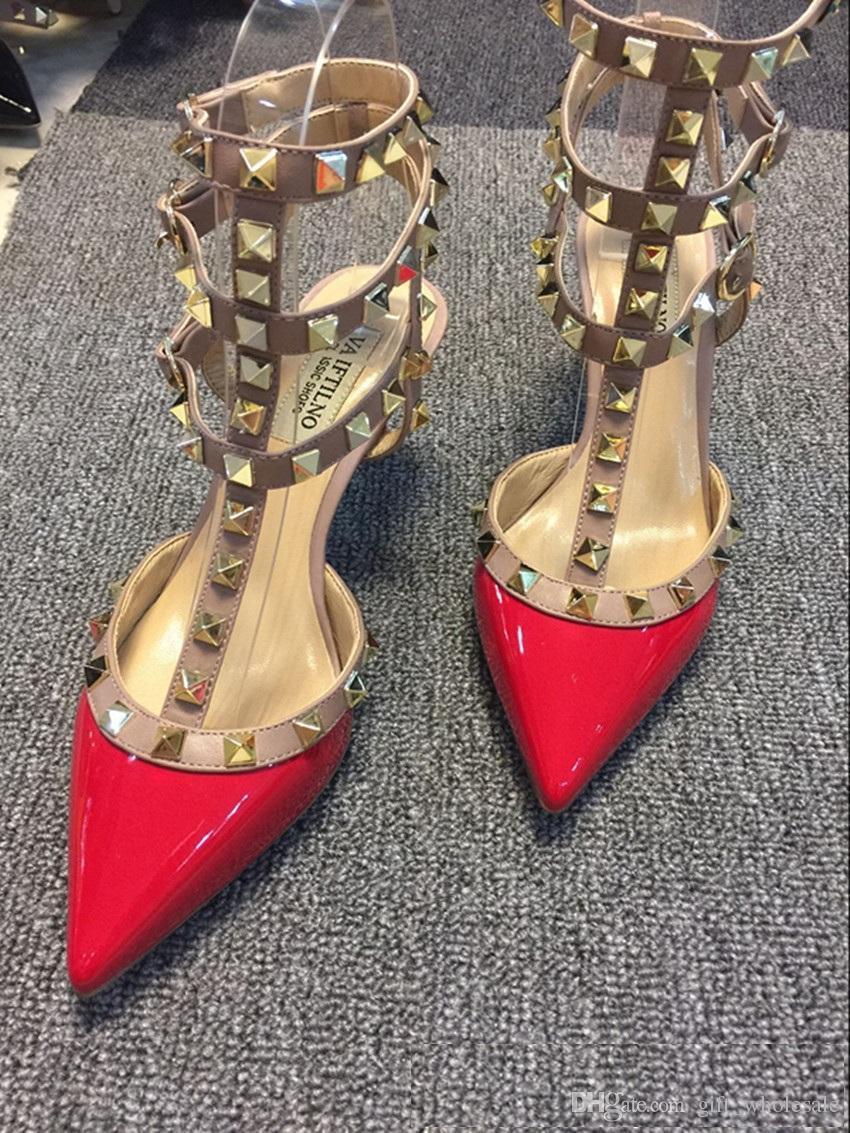 2018 Nuevas mujeres de tacones altos zapatos de vestir del partido de la manera remaches chicas punta sexy zapatos hebilla plataforma bombas zapatos de boda negro blanco rosa
