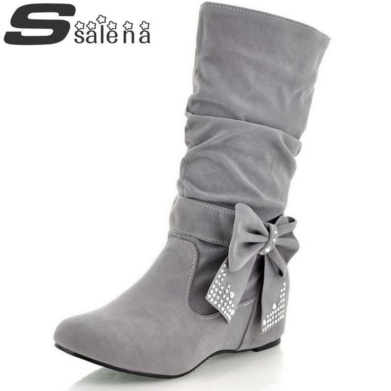 d8231282a0dd5 Compre Botas De Invierno Para Mujer Mujer Botas Casuales A Media Pierna  Dulce Arco Moda Zapatos Cálidos Zapatos De Viento Universitarios Más  Populares ...