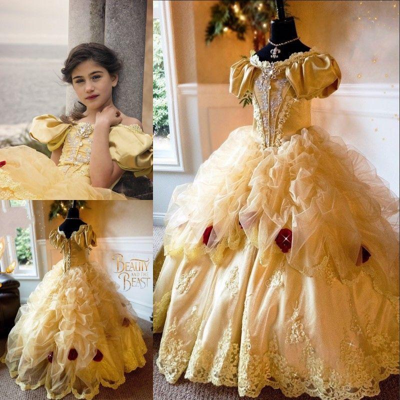 48b8e319291 Beauty Bella Princess Girls Pageant Dress Handmade Flowers Crystal  Appliques Ball Gown Toddler Birthday Dress Fairy Tale Flower Girl Dresses  Girl Flower ...