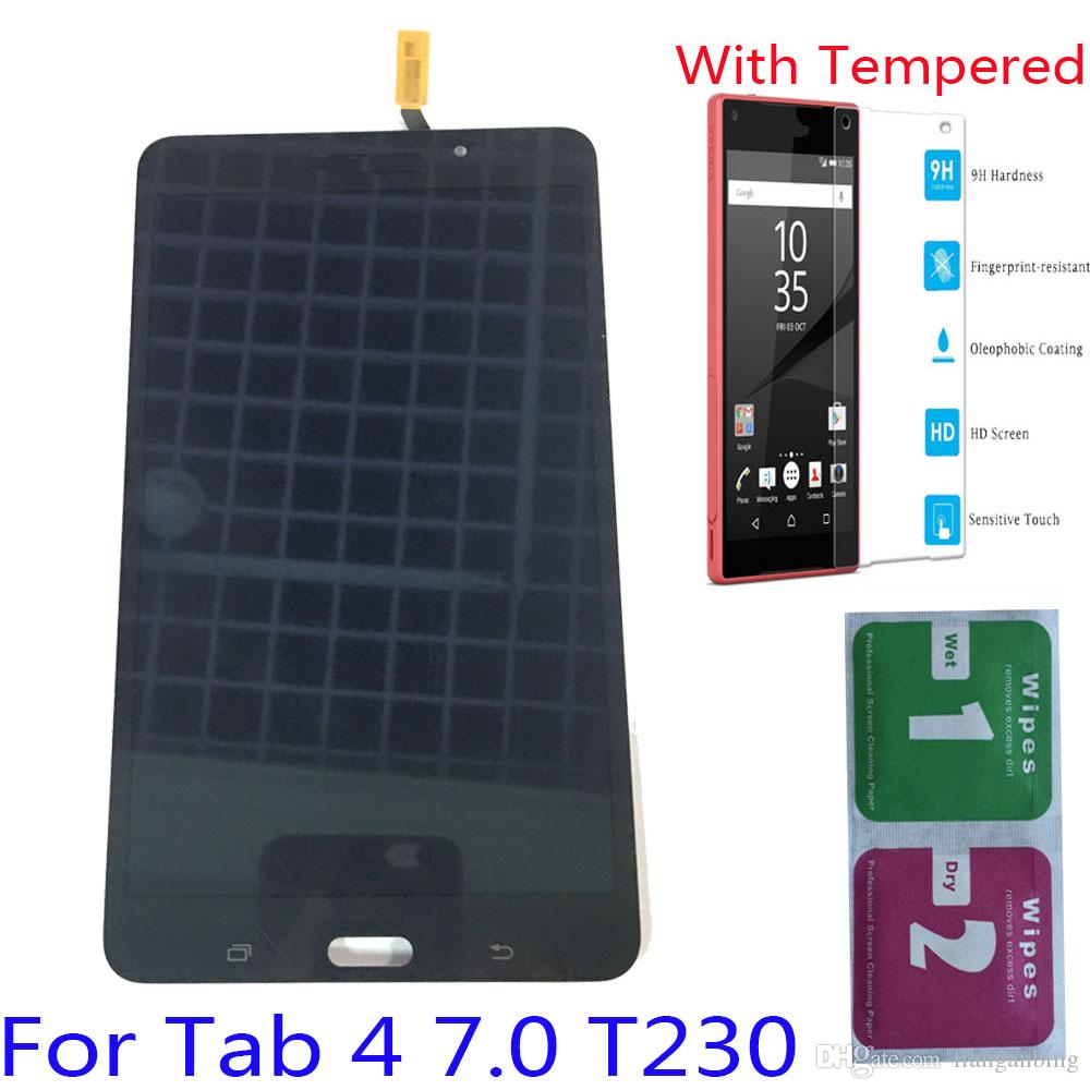 NEW LCD Display Touch Screen Digitizer For Samsung Galaxy Tab 4 7.0 T230 Wi-Fi Black White With Tempered Glass DHL logistics