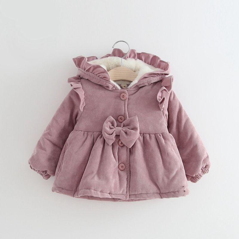 908092f6bab6 Warm Winter Clothes Baby Girl Children Ruffled Hooded Corduroy ...