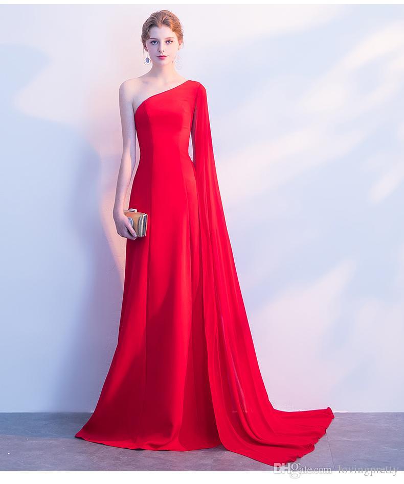 Acquista Janevini Abiti Da Sera Rossi Lungo Chic One Shoulder Mermaid Satin  Backless Prom Gown Senza Maniche Sweep Train Vestido Largo Rojo Abiti  Formali A ... a50aee5af45