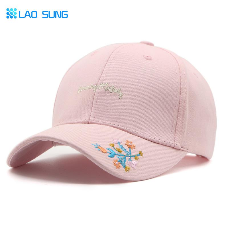 LAO SUNG Fashion K Pop Snapback Women Cap Floral Embroidery Outdoor  Baseball Caps For Women Petten Bones Masculino Gorra C015 Custom Fitted  Hats Design Your ... bd9b707ab75
