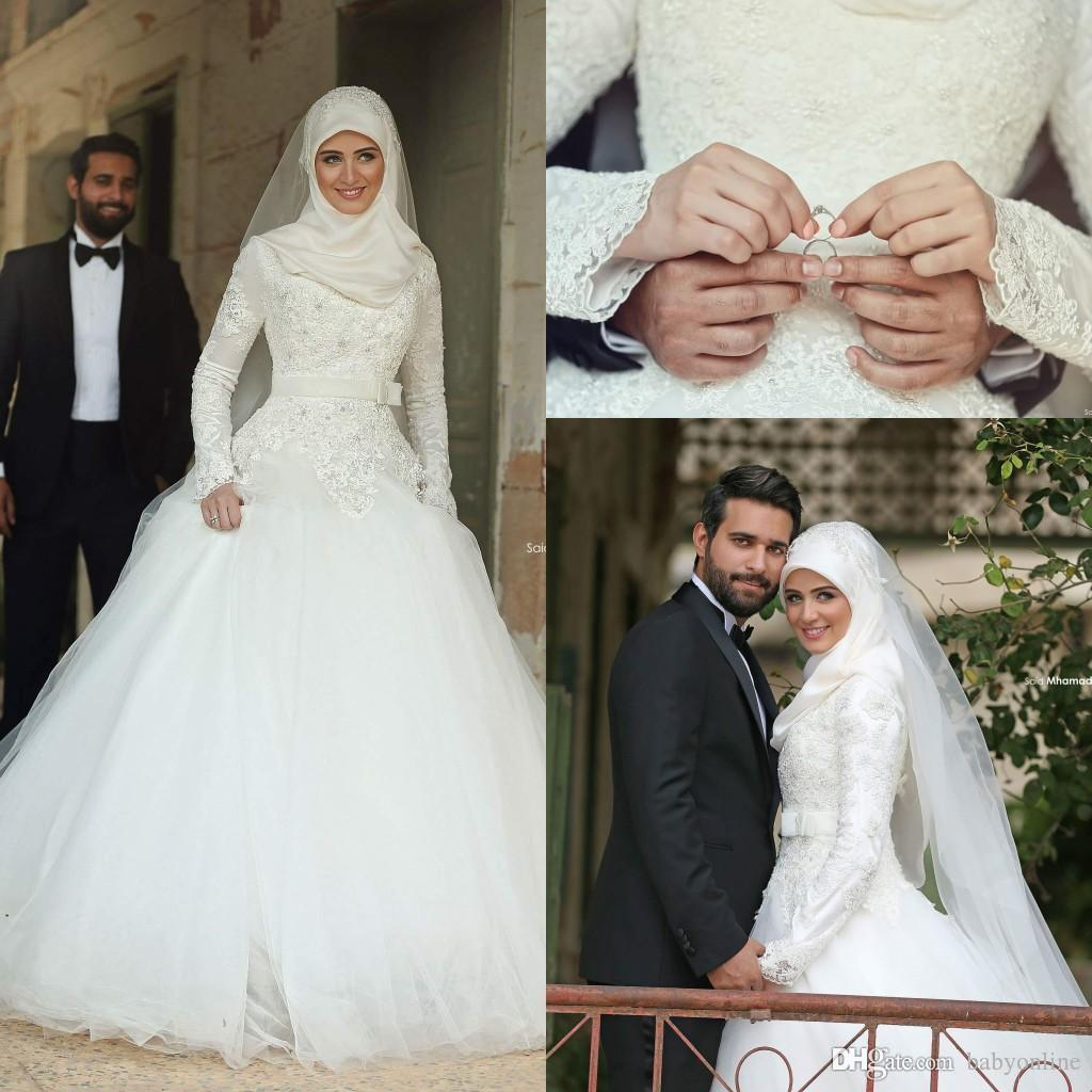 d9efae2ab0126 Discount 2018 Arabic Islamic Muslim A Line Wedding Dresses Said Mhamad Lace  Winter Bridal Gowns Long Sleeves High Neck Midwest Pakistani Abaya BA1939  ...