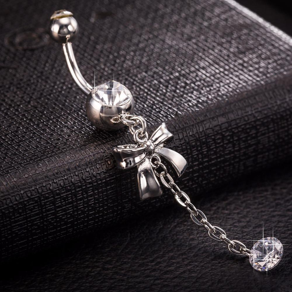 Gussiarro chain Bow Tie Clear Cubic Zirconia No Nickel Piercing Ring Belly Button Navel Piercing Body Jewelry Navel Belly Woman