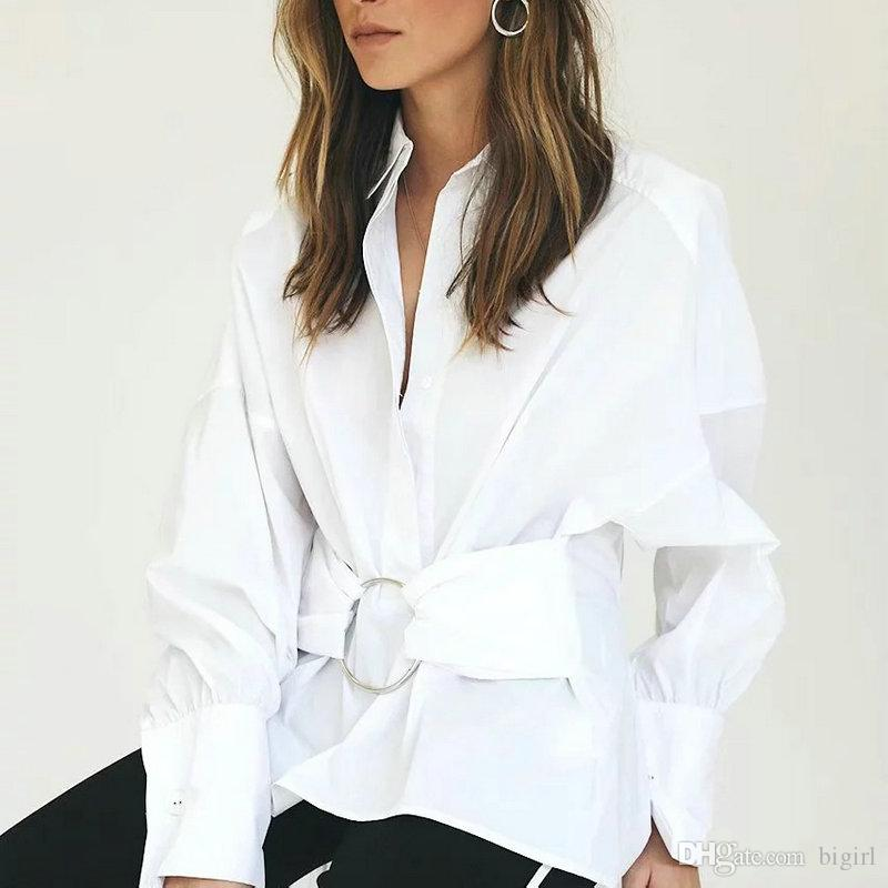 480f90e2c477 2019 New Women White Cotton Shirt Metal Buckle Decoration Slim Long Sleeve  Turn Down Collar Fashion Design Autumn Spring Blusa From Bigirl, $29.64 |  DHgate.