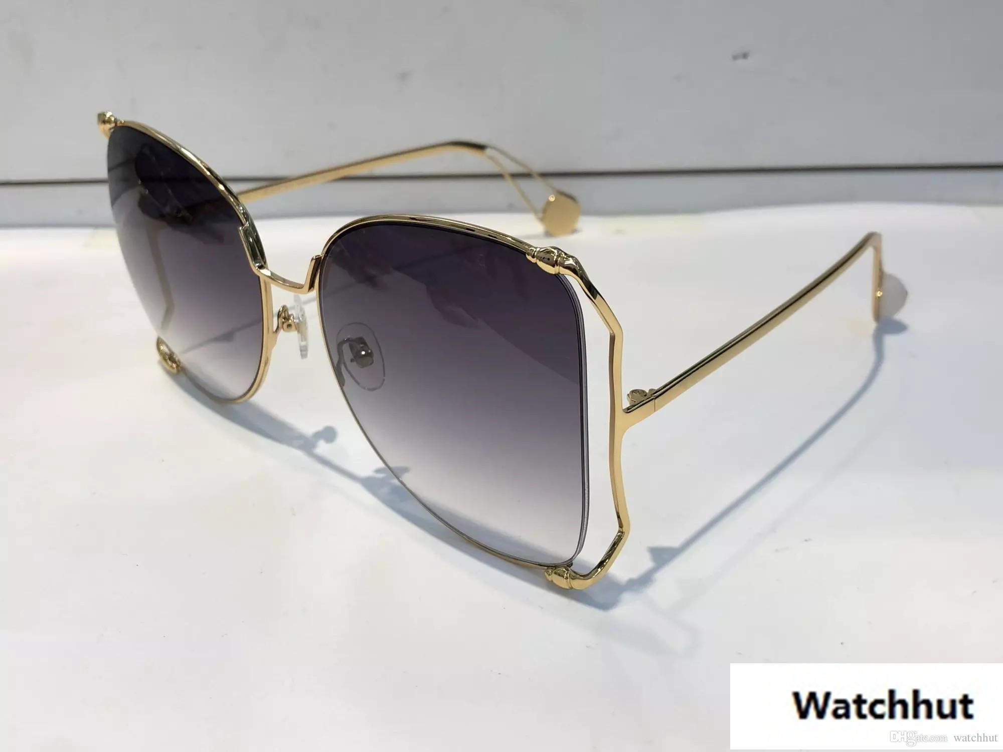 e94b9d24aa16c Compre Luxo 0252 Óculos De Sol Das Mulheres Designer De Marca De Moda  Popular Grande Oco Quadro Estilo Verão De Alta Qualidade Lente De Proteção  Uv Vem Com ...